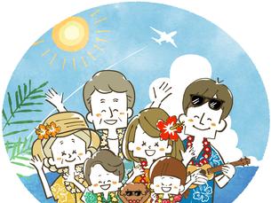 三世代家族旅行-リゾートのイラスト素材 [FYI04488521]