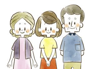 三人家族-笑顔-水彩のイラスト素材 [FYI04489129]