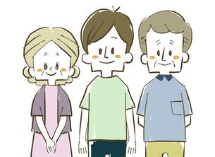 三人家族-笑顔のイラスト素材 [FYI04489130]