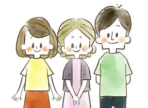 三人家族-笑顔-水彩のイラスト素材 [FYI04489133]