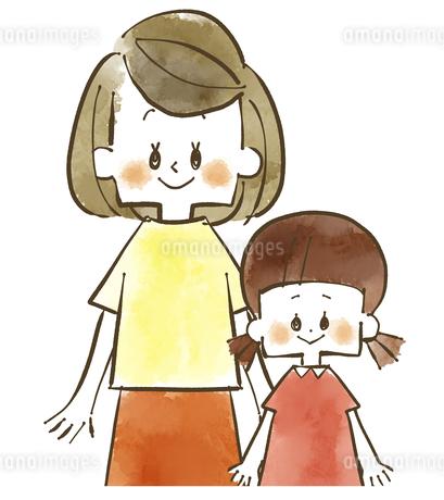 親子-母子-母親と娘-水彩のイラスト素材 [FYI04489142]