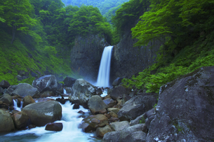 苗名滝と新緑の写真素材 [FYI04490415]