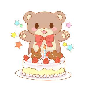 クマちゃんとケーキのイラスト素材 [FYI04490505]