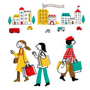 街で買い物をする女性のイラスト素材 [FYI04491362]