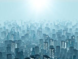 霧にむせぶ夜明けの都市風景のイラスト素材 [FYI04492295]