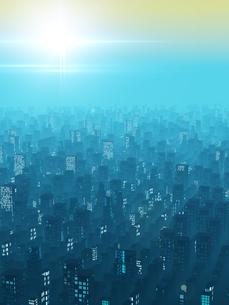 霧にむせぶ夜明けの都市風景のイラスト素材 [FYI04492296]