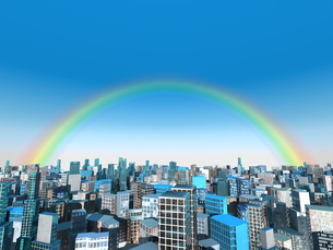 虹かかる都市風景のイラスト素材 [FYI04492304]