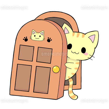 猫の扉のイラスト素材 [FYI04492700]