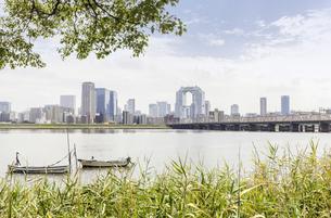 淀川から見た大阪梅田の高層ビル群の写真素材 [FYI04493149]