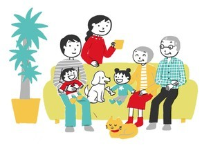 ソファでくつろぐ家族のイラスト素材 [FYI04493278]
