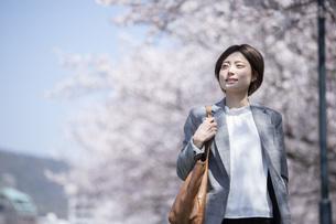 桜とスーツを着た若いビジネスウーマンの写真素材 [FYI04493550]