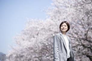 桜とスーツを着た若いビジネスウーマンの写真素材 [FYI04493553]