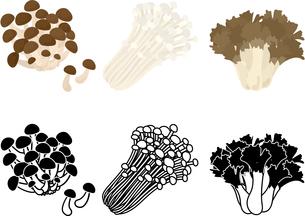 しめじとえのき茸と舞茸の可愛いアイコンのイラスト素材 [FYI04493878]