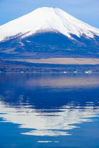 山中湖 湖畔から富士山(逆さ富士)の写真素材 [FYI04494370]