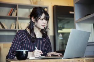 パソコンを操作する20代女性の写真素材 [FYI04494533]