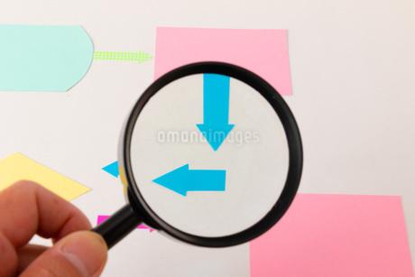虫眼鏡で見るフローチャートの写真素材 [FYI04494572]