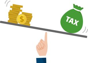 給料と税金のバランスイメージのイラスト素材 [FYI04494667]