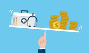 お金と病院、医療費のイラストイメージのイラスト素材 [FYI04494669]