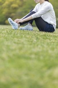 靴紐を結び運動の準備をする若い女性の写真素材 [FYI04494856]