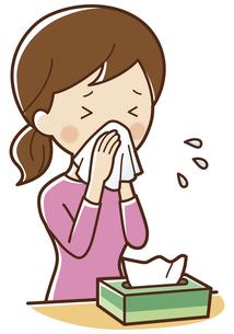 鼻をかむ女性のイラスト素材 [FYI04495167]