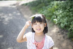 葉っぱを持って笑っている女の子の写真素材 [FYI04495367]