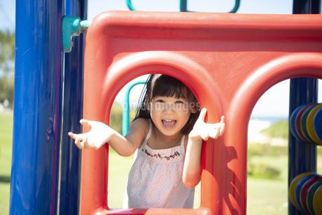 公園の遊具で遊んでいる女の子の写真素材 [FYI04495448]
