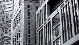東京都庁の複雑な外壁にフォーカスした写真の写真素材 [FYI04496372]