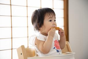 パンを食べている赤ちゃんの写真素材 [FYI04496476]