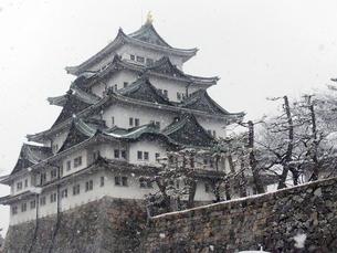 雪の名古屋城の写真素材 [FYI04496604]