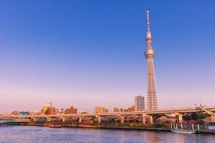 夕日に染まる東京スカイツリーと隅田川夕景の写真素材 [FYI04497170]