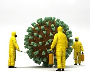 防護服を着た人とコロナウイルスのイラスト素材 [FYI04497475]