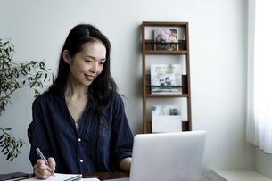 テレワークをする40代日本人女性の写真素材 [FYI04498293]