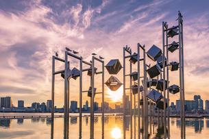 晴海埠頭から望む東京夕景の写真素材 [FYI04498412]