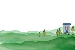 自然の中の家の水彩画のイラスト素材 [FYI04499184]