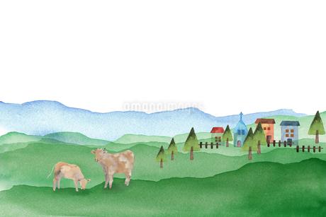 牛のいる風景のイラスト素材 [FYI04499185]