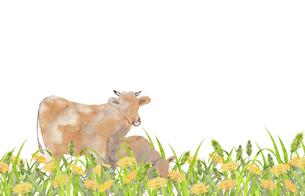 牛とたんぽぽのイラスト素材 [FYI04499186]