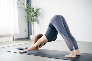 Woman watching yoga online tutorial.の写真素材 [FYI04500376]