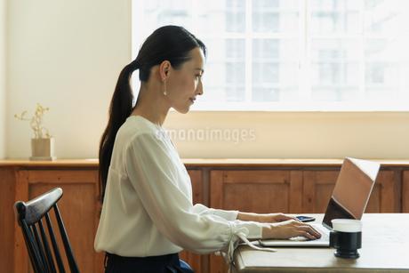 パソコンで作業している20代女性の写真素材 [FYI04501470]