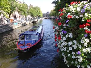 オランダアムステルダムの運河の遊覧船 Canal tour boat in Amsterdamの写真素材 [FYI04503101]