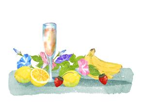 果物とジュースと朝顔のイラスト素材 [FYI04504135]