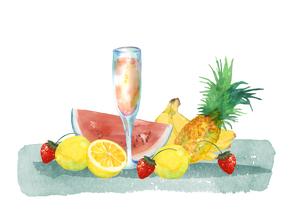 果物とジュースのイラスト素材 [FYI04504137]
