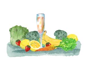 野菜と果物とジュースのイラスト素材 [FYI04504138]