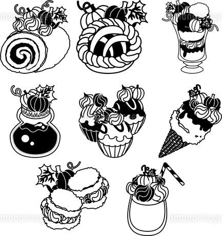 かぼちゃのロールケーキとパイとパフェとシュークリームとジャムとカップケーキとアイスクリームとジュースのイラスト素材 [FYI04504451]