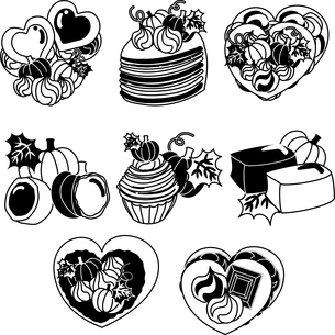 かぼちゃのクッキーとミルクレープとケーキとタルトとまんじゅうとモンブランと羊羹のイラスト素材 [FYI04504452]