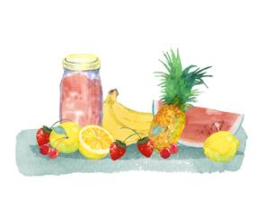果物とジャム瓶のイラスト素材 [FYI04505056]
