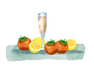 トマトとレモンとジュースのイラスト素材 [FYI04505469]