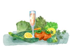 野菜とジュース水彩画のイラスト素材 [FYI04505470]