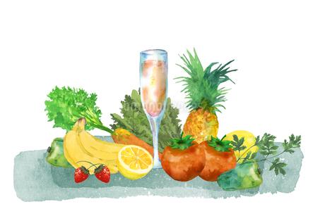 野菜と果物とジュースのイラスト素材 [FYI04505471]