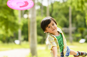 フリスビーを投げる男の子の写真素材 [FYI04505650]