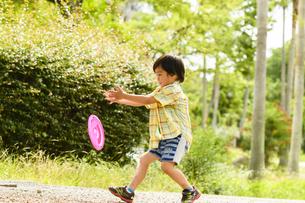 フリスビーで遊ぶ男の子の写真素材 [FYI04505653]